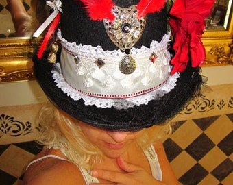 WILD HEART, Custom Made Top Hat, Embellished for Bachelorette, Weddings, Girls Night, Concerts, Parties, Birthday Girl