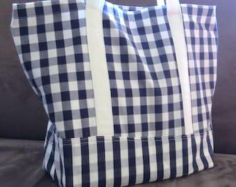 FREE SHIPPING ALWAYS - Blue Gingham tote bag, cotton bag, reusable grocery bag, knitting project bag, beach bag, Green Market bag