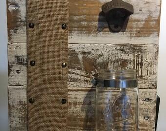 PalletBottle Opener with Burlap Corkboard