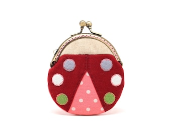 Magical maroon beetle mini coin purse