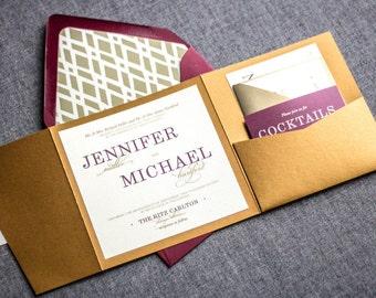 "Purple and Gold Invitations, Burgundy Wedding Invitation, Vineyard Wedding, Elegance Burgundy Suite - ""Classic Elegance"" - PF-NL-v2 SAMPLE"