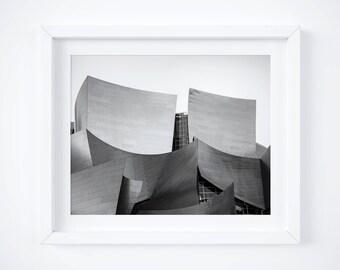 Disney Concert Hall - Los Angeles photo print - Black and white California photography - Travel fine art decor - Gehry architecture landmark