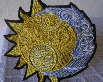 Clockwork Heavens, Embroidered Iron On Patch, Steampunk Gears Gray, Yellow Gold, Sun Moon, Celestial Sun, Crescent Moon, Embroidered Patch