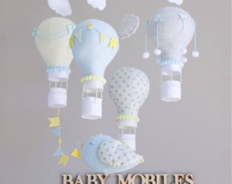 Hot Air Balloon Baby Mobile with little bird. Blue and yellow