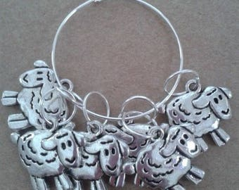 WoollyKits Sheep Stitch Markers (Pack of 6 Charms) for Knitting/Crochet