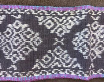 "Guatemalan Faja Huipil ikat indigo cotton sash 62"" long hand woven belt 5.5"" wide traditional craft folk"