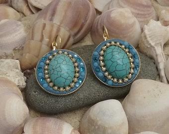 Valentine's gift ,Turquoise Dangle Earrings, Big Swarovski Ear, Turquoise Gold Earrings, Large Round Earrings, Turquoise Crystal Earrings