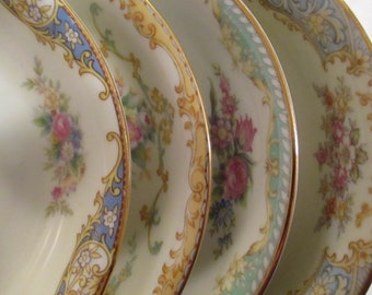 Vintage Mismatched China Dessert Bowls, Fruit Bowls for Tea Party, Bridal Luncheons, Showers, Hostess Gift, Bridesmaid Gift - Set of 4