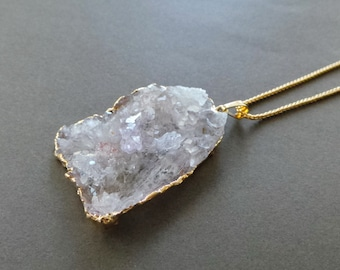 """Rough Angels Wing Lavender Crystal Quartz Druzy 22K Gold Dipped Pendant Necklace 20"""" FREE SHIPPING"""