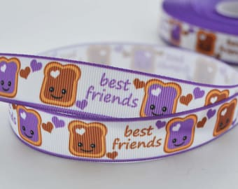 "Best Friends Peanut Butter and Grape Jelly Sandwich Heart Love  Grosgrain Ribbon 7/8"" Wide"