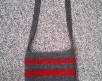 Wool knitted and felted cross body bag