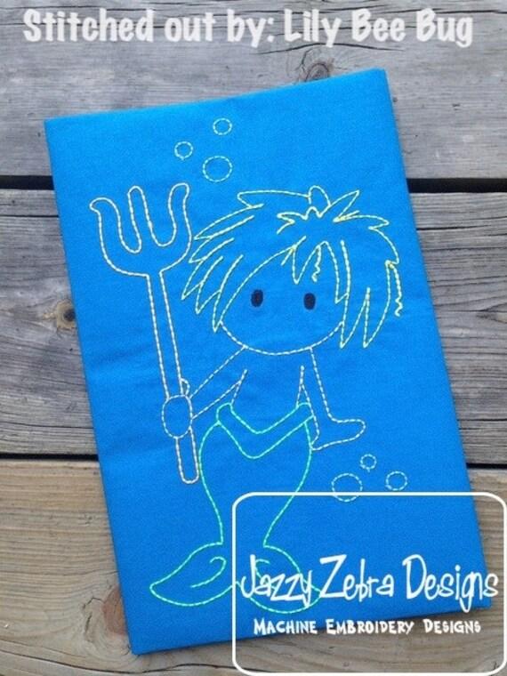 Merman Color Work Embroidery Design - merman red work Embroidery Design - mermaid Embroidery Design - merman Embroidery Design - summer