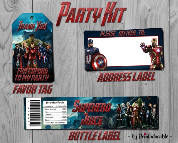 Avengers Party Set - Iron Man, Captain America Party Kit - Favor Tag, Address Label and Bottle Labels - PDF or JPG