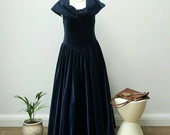Luxurious Midnight Navy Blue Velour Off the Shoulder Dress.