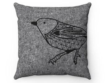Scandinavian bird print pillow, Cushion cover, Black + white, Decorative pillow, Bird pillow, Bird cushion, Scandinavian print, Woodland