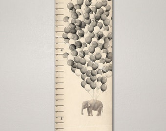 Elephant Growth Chart, Unique Children's Art 10 X 30, Kids Room, Nursery, Home Decor, Art Print, Baby, Gift, Present, Cute