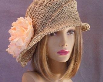 Sophia, seagrass side drape millinery hat, womens straw cloche hat