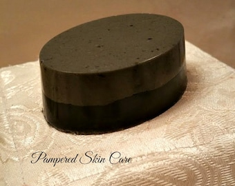 Dead Sea Clay & Activated Charcoal Layered Goats Milk Soap - Clean Moisturizing, Acne Prone Sensitive Skin, Paraben and Sulfate Free