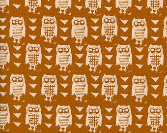 Cotton + Steel Firelight - Hooties in Earth - Unbleached Quilting Cotton - Alexia Abeggs - Fabric by the Yard - Owl Fabric