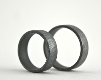 Roughed Up Sterling Silver Ring Set - 6 mm - Oxidized - Blackened - Wide Band - Matching Wedding Bands - Men's or Women's - Promise Rings
