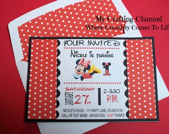 Set of 12 Red Minnie Mouse # 1 Birthday Invitations With Matching Envelopes,,Invites,Invitations,Birthday,Birthday Invitations