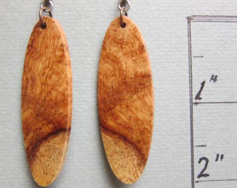 Exotic Wood Earrings Afzelia Burl long dangle handcrafted ExoticwoodJewelryAnd reclaimed natural wood
