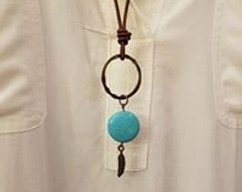 Leather & Turquoise Southwest Necklace