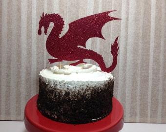 Dragon Cake Topper (Medieval Party, Glitter Decorations, Dragon Decor, Dragon Party, Fantasy, Fairytale)