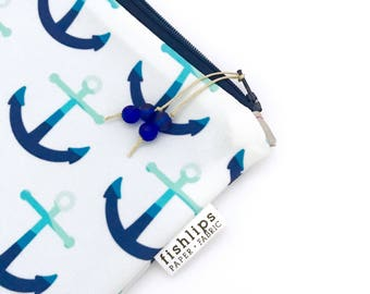 Anchor Wet Bag, Water Resistant Bikini Bag, Nautical Bag Zipper Pouch, Recycled Canvas Pouch, Wipe-able Handmade Gift for Mom, Diaper Mess