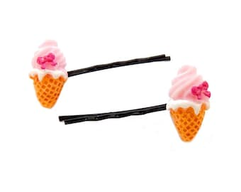 Hair pins, bobby pins, hair clip, ice creams, kawaii, pink hair pin, hair pin for girl, girl's hair pins, resin hair pins, gift for girl