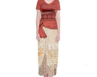 Moana Inspired Short Sleeve Maxi Dress
