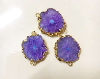 SALE Purple Geode Slice Druzy Crystal Gemstone with 24k Electroplated Gold Cap and Bail -- Double Bail Pendant Connector (D51S24-02)