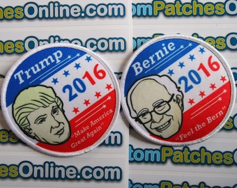 2016 Donald Trump and 2016 Bernie Sanders Patches