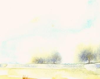 Tiny Landscape Fine Art Print from Original Watercolor