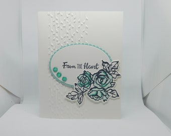 White and Mint From the Heart Card