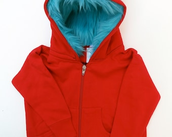 Toddler Monster Hoodie - Size 2T - Red with aqua - horned sweatshirt, custom jacket, great gift for kids
