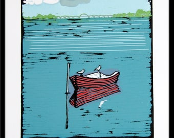 linocut, boat, water, reflection, landscape, seascape, seagulls, red boat, seaside, storm, thunder, printmaking, art on paper, blue and red
