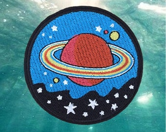 Outer space Embroidered Iron On Patch, planet sewing patch, space iron on patch