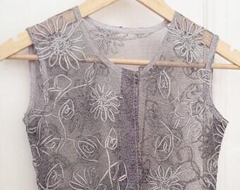 silver net tunic shift dress silver flower appliques M