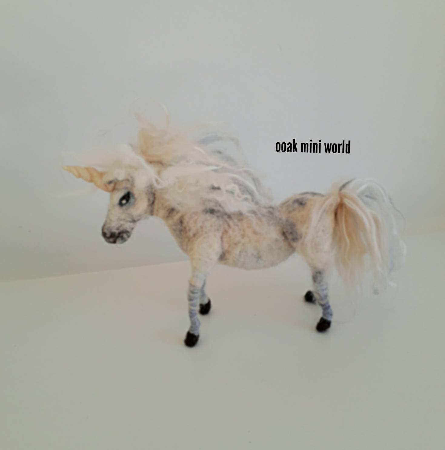 Ooak needle felted fantasy unicorn sculpt sculpture great for fairy waldorf unicorn pegasus art doll for Fibre art collector