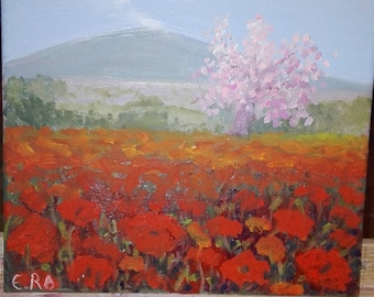 painting with a poppy field and cerry tree