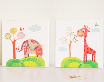 Kids canvas art, baby room art, nursery canvas, nursery art set, childrens wall art