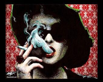"Print 8x10"" - Marla Singer - Fight Club Helena Bonham Carter Narrator Edward Norton Brad Pitt Pop Dark Art Lowbrow Art Tyler Durden Movies"