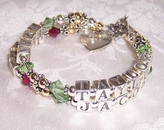 4 Name Silver and Gold 2 Strand Mothers Grandmothers  Name Bracelet with Sterling Swarovski and Gold