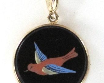 Victorian Enamel Bird Charm Pendant Necklace