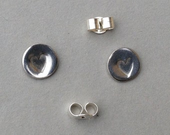 Heart studs earrings - sterling silver