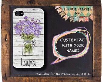 Floral iPhone Case, Custom iPhone Case, Mason Jar iPhone Case with Monogram, iPhone 8, 8 Plus, iPhone 7, 7 Plus, iPhone 6s, 6 Plus, SE, 5s