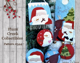 Santa and Snowman Ornaments Pattern Christmas Applique hand stitched wool felt ornaments and door knob hangers