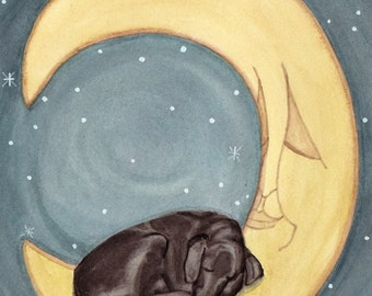 Black labrador retriever (black lab) sleeping on moon / Lynch signed folk art print