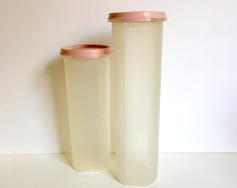 Vintage Tupperware Canisters, Modular Mates, Mauve Rose Pink Tops, Tall Storage Containers